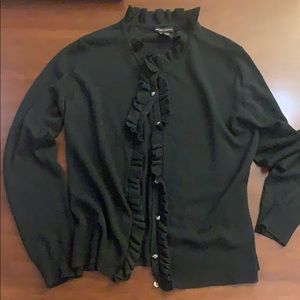 Black cardigan with ruffle and cute buttons